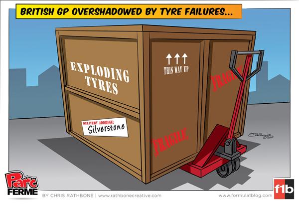 Гран-при Великобритании в тени взрывающихся покрышек Pirelli - комикс Chris Rathbone по Гран-при Великобритании 2013