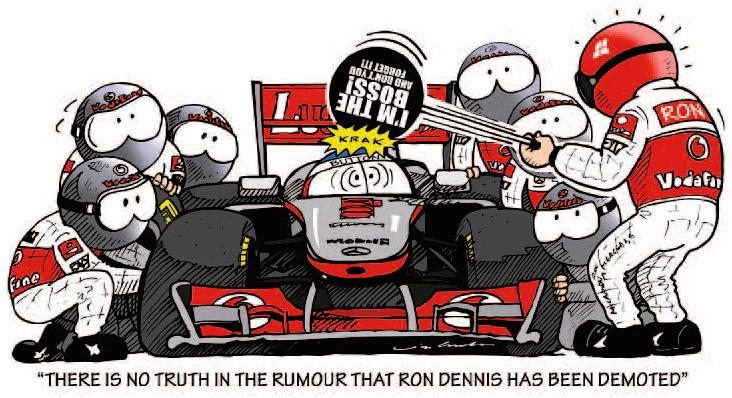 McLaren отрицает слухи о понижении Рона Денниса - комикс Jim Bamber
