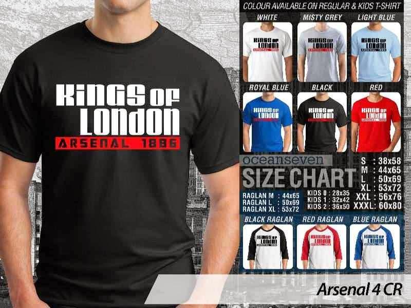 Kaos Bola Arsenal 4 Liga Premier Inggris distro ocean seven