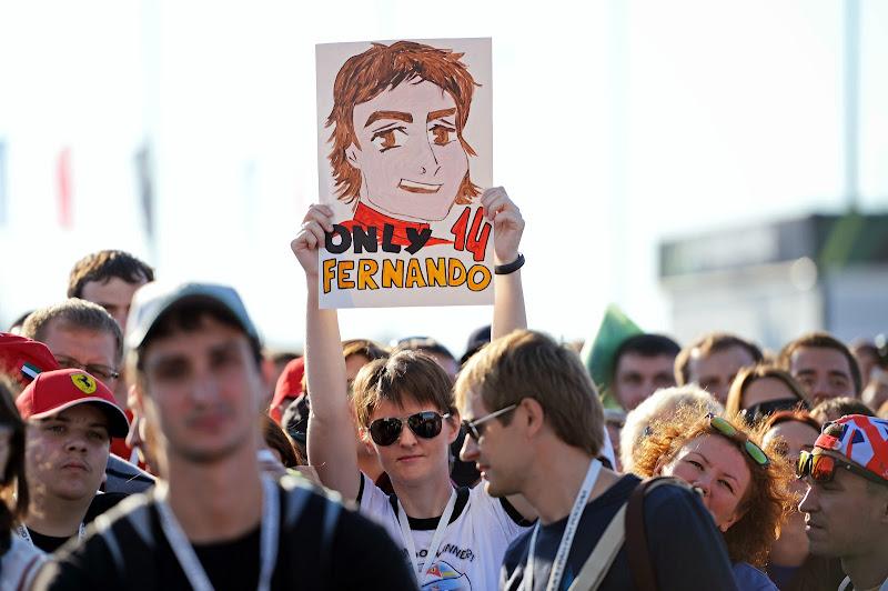 баннер болельщика Фернандо Алонсо на Гран-при России 2014