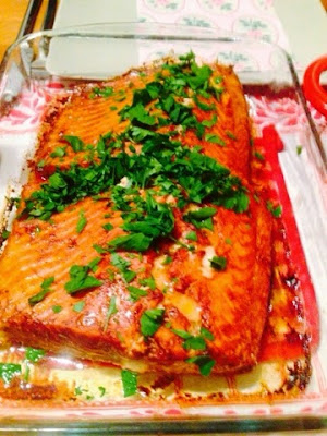 Whole salmon fillet with cajun spices