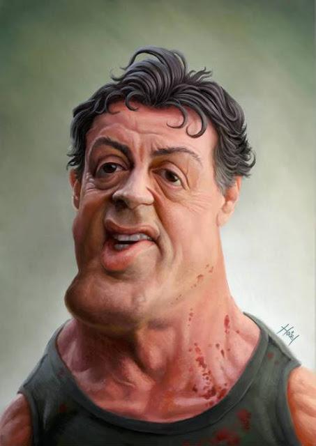 Сильвестр Сталлоне - Рэмбо - 18 юмористических карикатур на знаменитостей из 15 известных кинолент