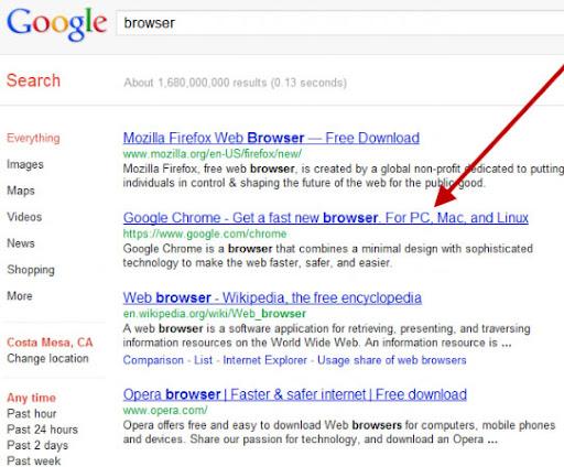 Chrome dibanned dari SERP Google