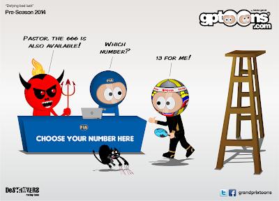 Пастор Мальдонадо выбирает номер 13 - комикс Grand Prix Toons