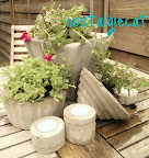 concrete and cement planters and tea-light votives