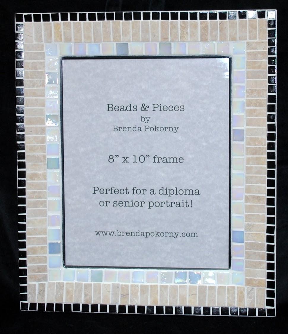"""Ivory, Stone & Onyx 8"""" x 10"""" Mosaic Photo Frame MOF1389"""