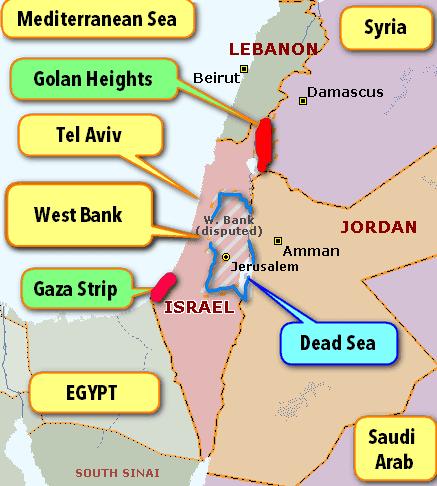 Map Israel, Gaza