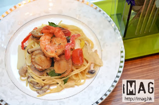 北海道香辣帶子海蝦意大利粉, 北海道帶子感覺辣,與意大利粉有強烈對比。售價:$72