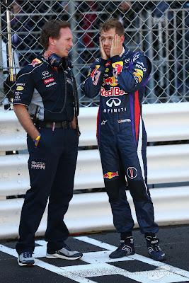 Кристиан Хорнер и Себастьян Феттель перед стартом Гран-при Монако 2013