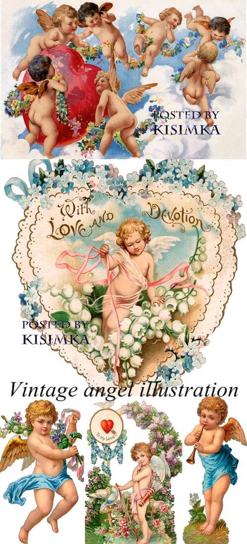 Stock Photo: Vintage angel illustration