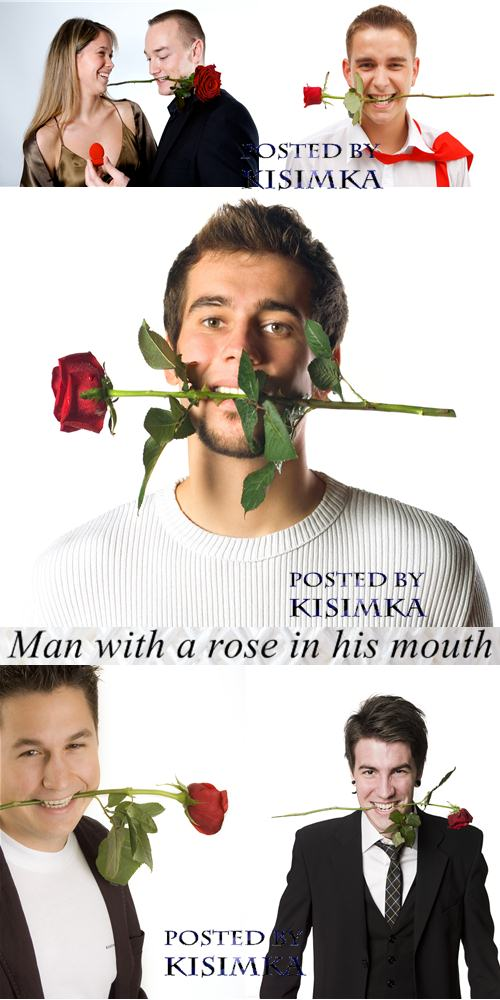 Stock Photo: Man with a rose in his mouth