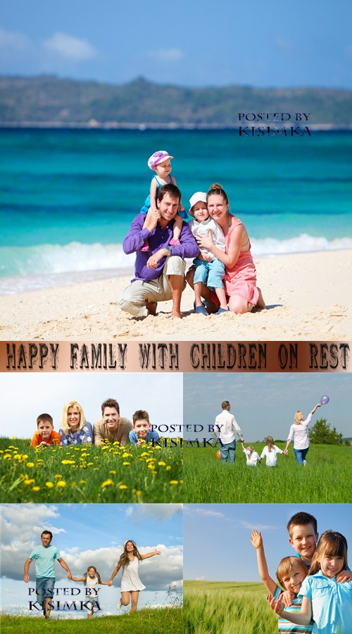 Stock Photo: Happy family with children on rest