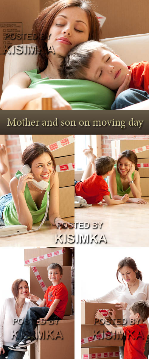 Stock Photo: Mother and son on moving day