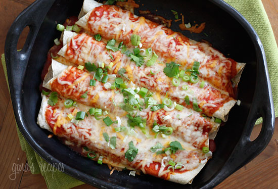 Low Fat, vegetarian healthy enchiladas