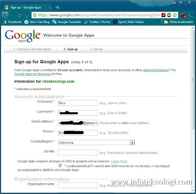 Langkah pengisian Data domain Google Apps