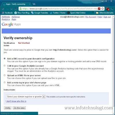 Tampilan layar verifikasi nama domain di google apps