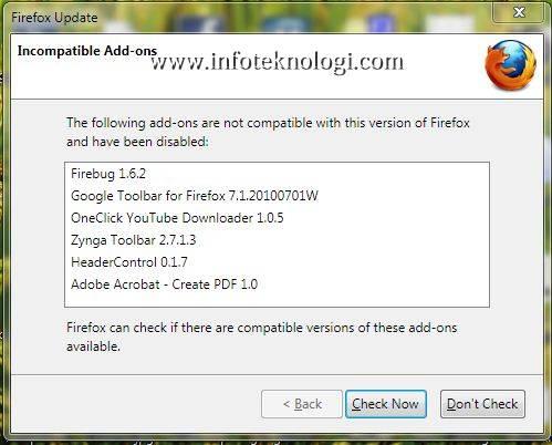 tampilan plugins yang tidak kompatibel