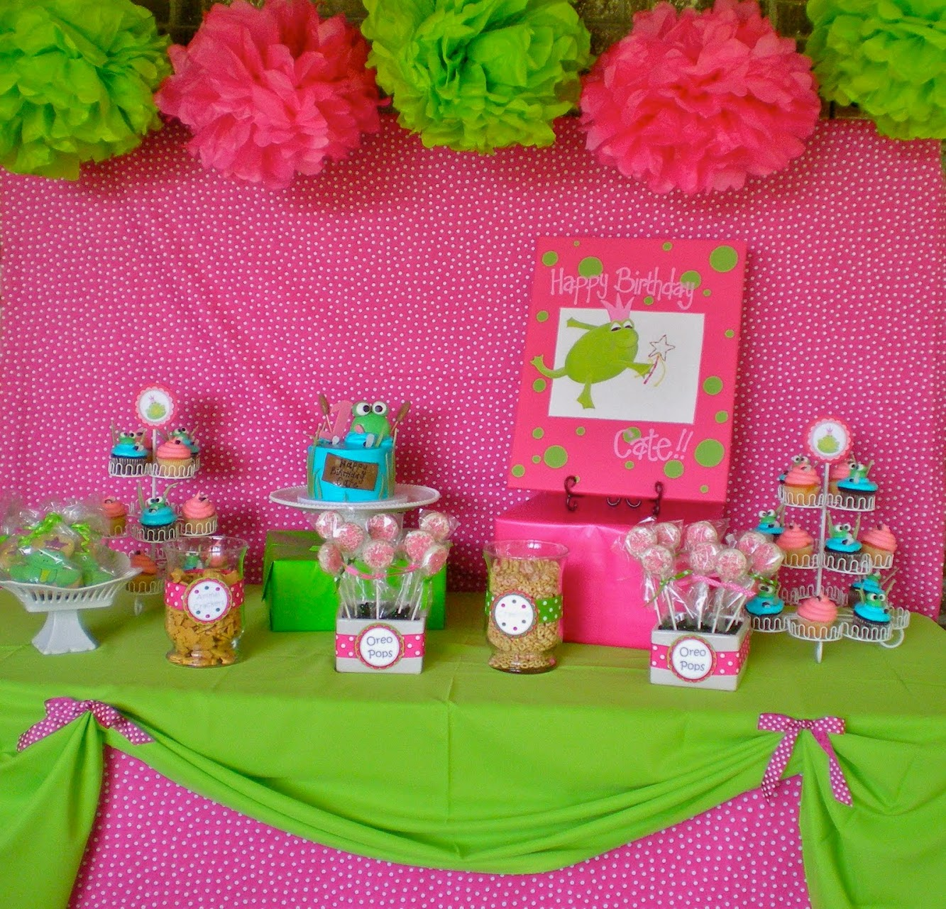 Pink & Green Frog Princess Party!