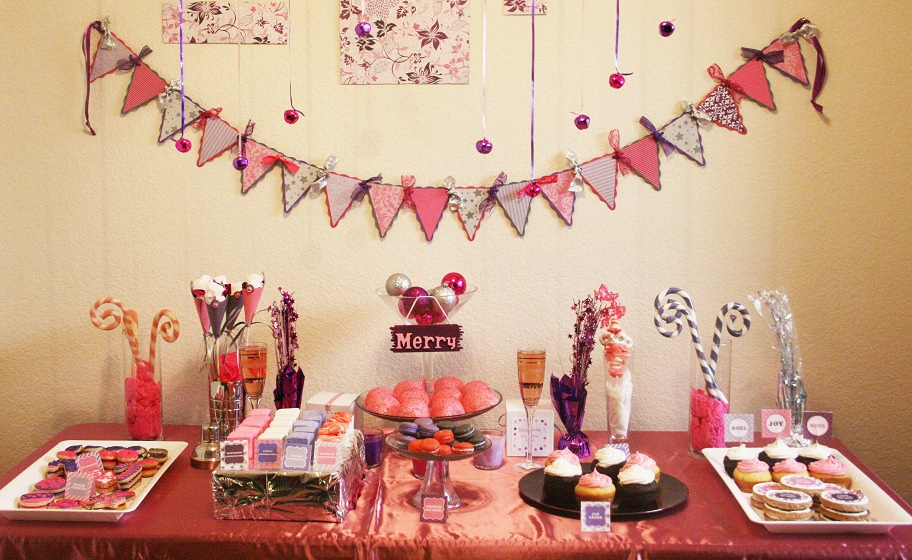 Pink & Purple Holiday Dessert Table