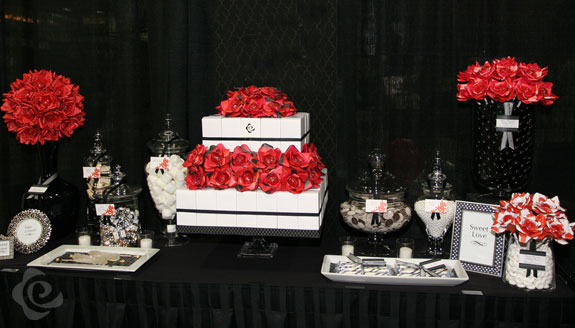 Red & Black Paper Love Dessert Table