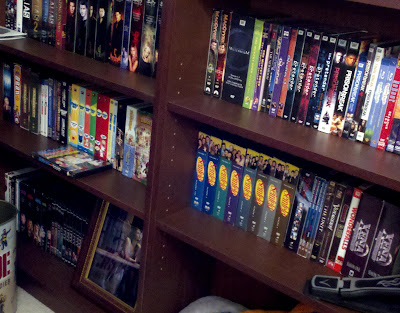 TV DVDs on bookshelves - click to enlarge.
