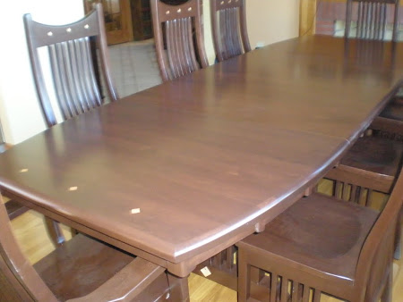 "90"" x 42"" Western Dining Table & Mission Chairs, Mocha Walnut with Natural Cherry Inlays"