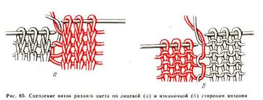 Как соединять нити разные цвета в вязании спицами