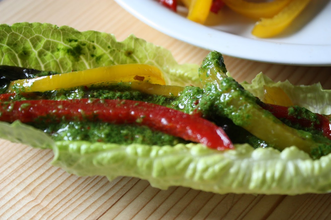 Portobello Strips and bell pepper lettuce wraps with Chimichurri sauce