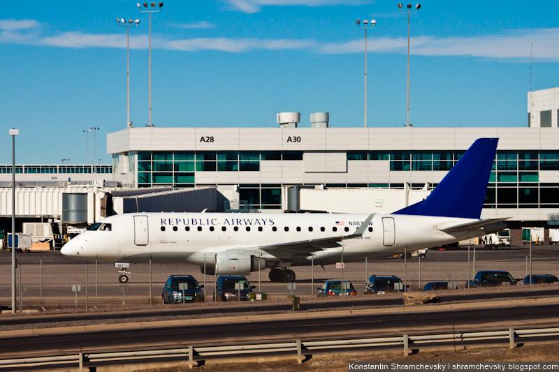 USA Colorado Denver International Airport Republic Airlines Embraer 170-700SE N867RW США Колорадо Денвер Международный Аэропорт Репаблик Эйрлайнз Эмбраер 170-100СЕ