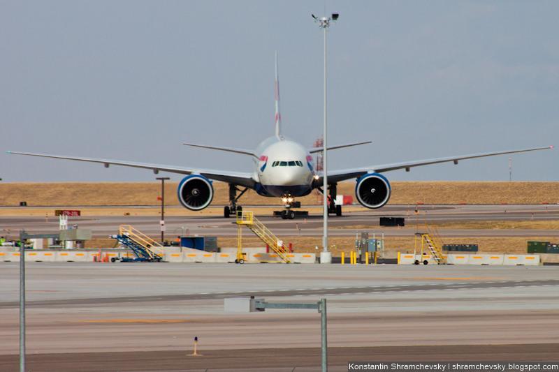 USA Colorado Denver International Airport British Airways Boeing 777-200ER G-VIIW США Колорадо Денвер Международный Аэропорт Британские Авиалинии Бритиш Эйрвейз Боинг 777-200ЕР