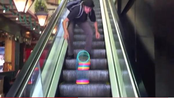 pablo a slinky and an escalator