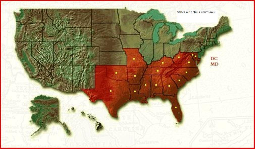Jim Crow Laws Map Of The United States During The Time Of