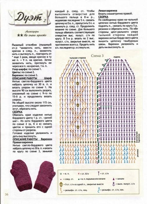 Вязание крючком схемы и описание варежек