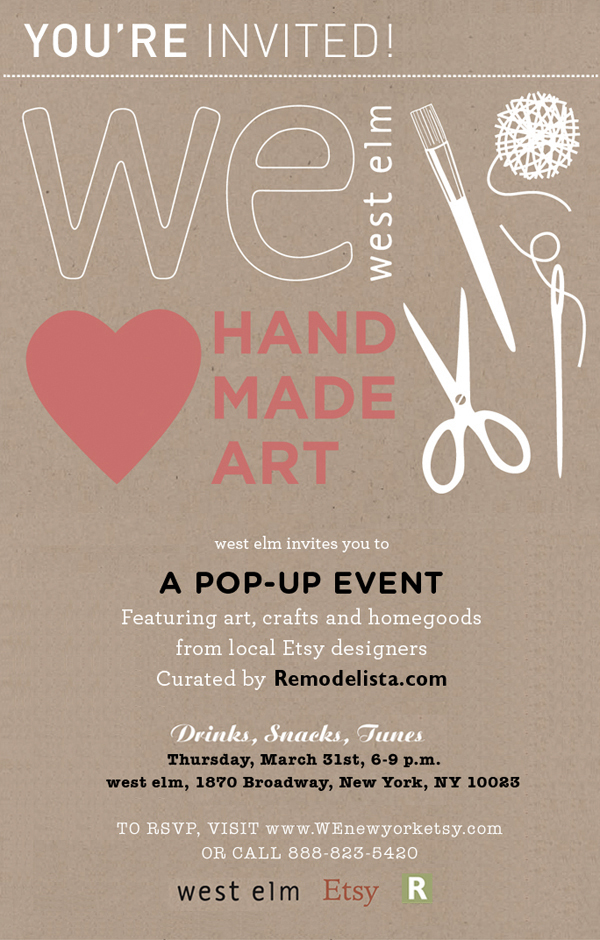 West Elm - WE heart handmade art pop up event, New York