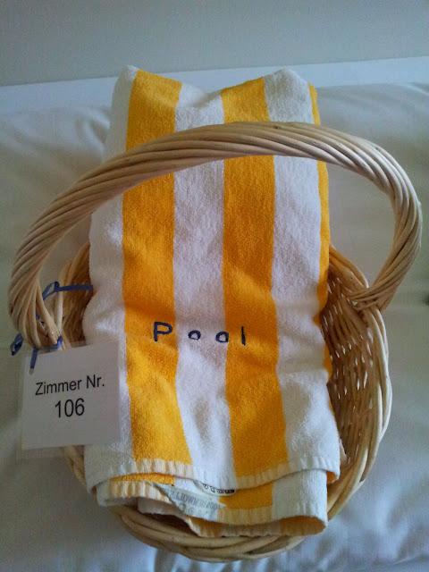 Bild von dem Korb mit den Handtüchern für den Wellnessbereich
