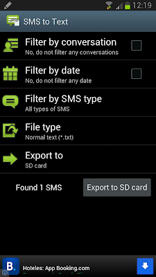 SMS to text - Export