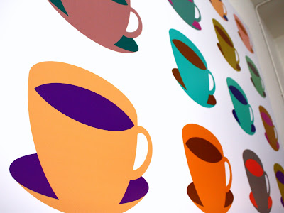 Tea cup paintings in the Story Museum in Oxford