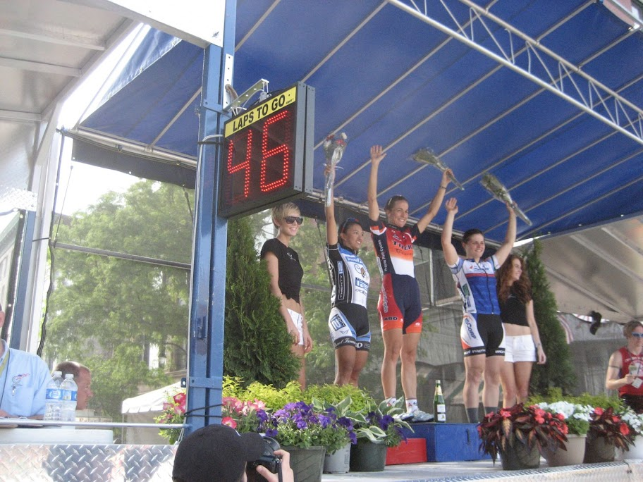 Stacy Appelwick atop the podium in Rock Island