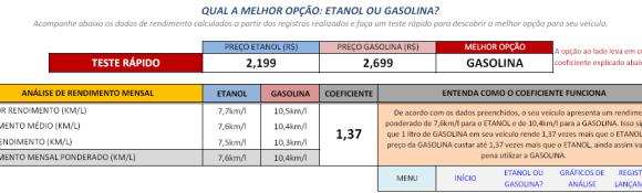 Figura 1 - Opção mais econômica entre Etanol e Gasolina e tabela de rendimentos