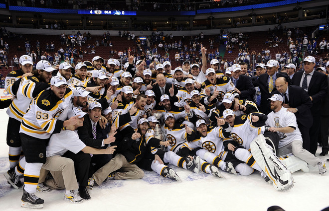 Boston Bruins team picture after winning the Stanley Cup