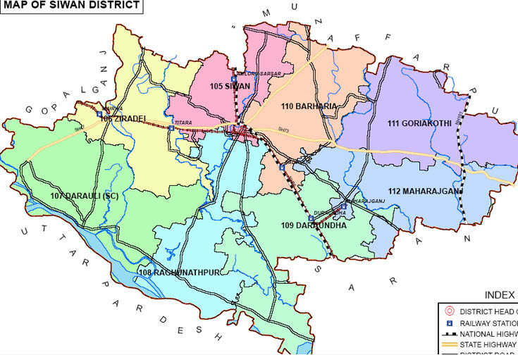 siwan district bihar assembly elections 2015 constituency map image