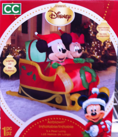 Disney Inflatable Airblown Mickey and Minnie in Christmas Sled with Presents