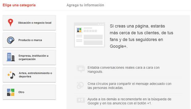 Crear página de negocios en Google plus
