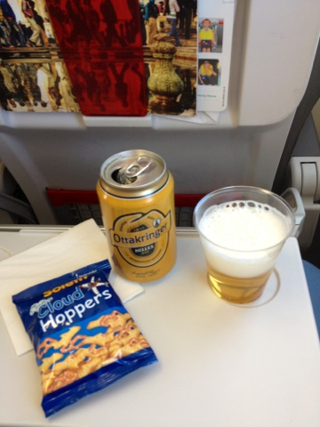 Picture of Austrian Airlines snacks and drinks in economy class Europe.