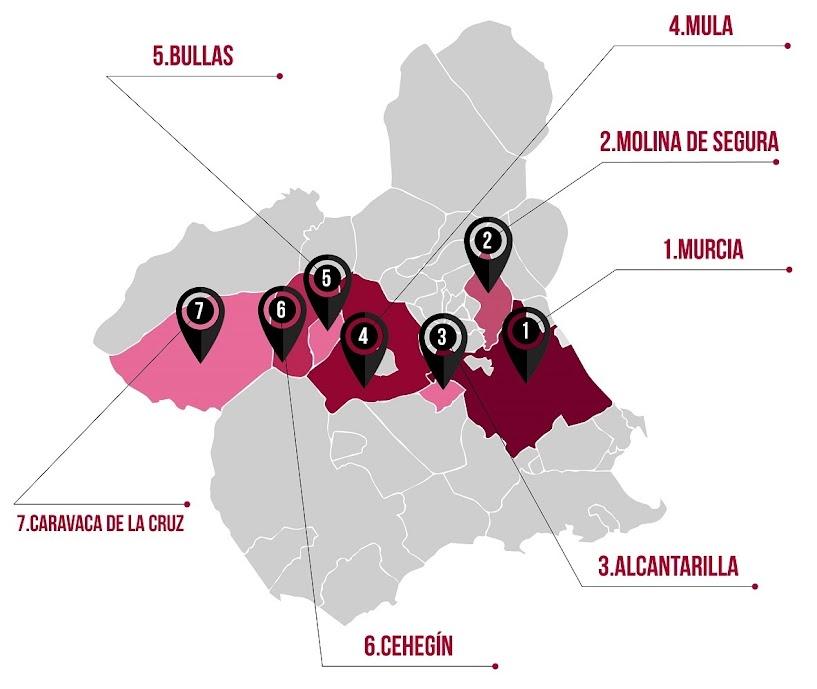 Mapa con servicios ofrecidos en toda la Región de Murcia