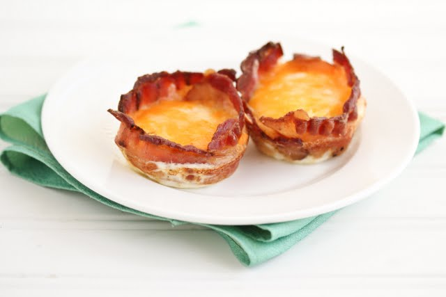 photo of two Cheese Bacon Egg Cups on a plate