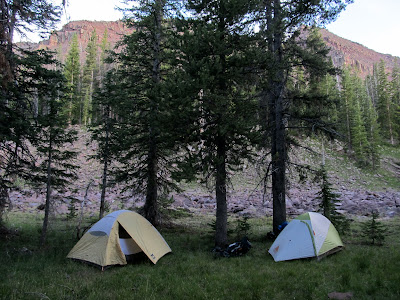Tents set up at the base of East Grandaddy Mountain