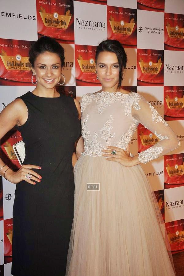 Gul Panag and Neha Dhupia during the 10th Annual Gemfields and Nazraana Retail Jeweller India Awards, 2014, in Mumbai, on July 19, 2014. (Pic: Viral Bhayani)