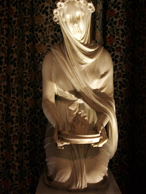 Veiled sculpture in Chatsworth in the Peak District