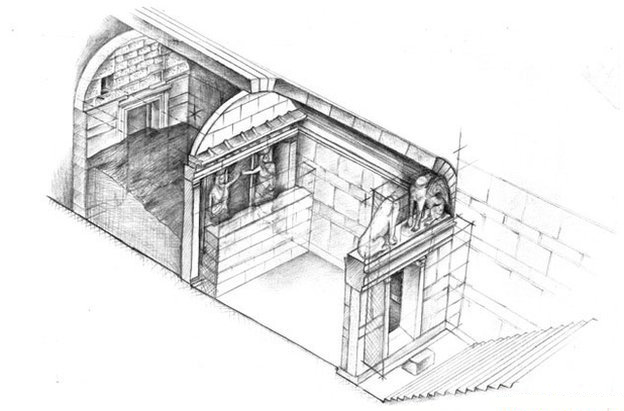 Artist rendering of the gates at Amphipolis